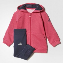 TUTA BABY ZIP LUNGA E CAPPUCCIO E LEGGINGS ADIDAS I GIRLS SET